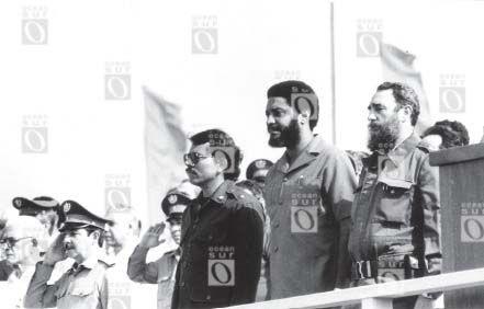 Daniel Ortega de Nicaragua, Maurice Bishop de Granada y Fidel Castro, 1º de mayo de 1980 en La Habana.