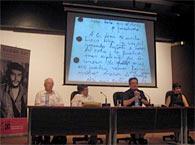 Durante la presentación de «Diario de un combatiente»