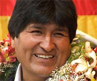 Evo Morales tras su reelección como presidente de Bolivia