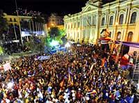 El pueblo boliviano festeja la victoria del MAS